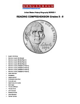 United States History Biography SERIES 1 READING COMPREHENSION Grades 5 - 8