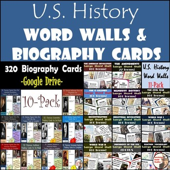 United States History - Bundle of Biography Cards and U.S. History Word Walls