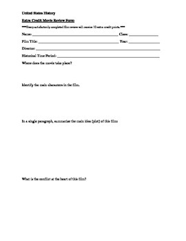 United States History Classroom Films - List & Review Worksheet