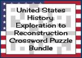 United States History: Exploration to Reconstruction Crossword Puzzle Bundle