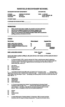 United States History Final Exam (Ontario/ University Level/January 2013)
