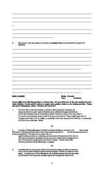 United States History Final Exam (Ontario/ University Level/June 2013)