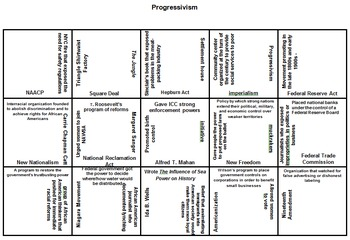 U.S. History Puzzle Squares (Progressivism - Present Day) - Great Review Game!