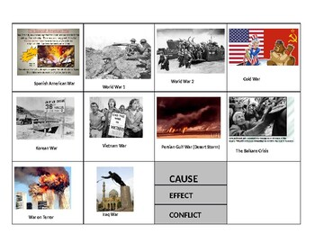United States History STAAR Prep- War and Conflict Card Sort