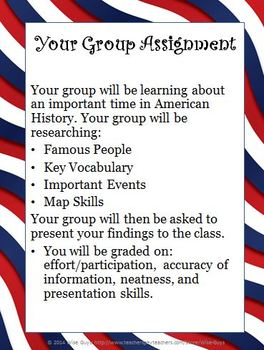 United States History Social Studies Group Project Great for Any Topic