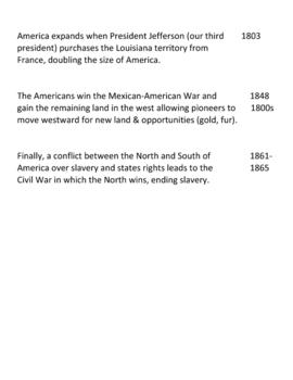 United States History Timeline - Group Activity
