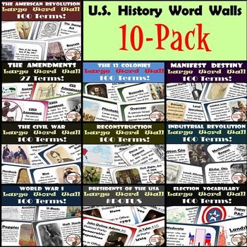 U.S. History Word Walls: 13 Colonies - World War I (plus Elections & Amendments)