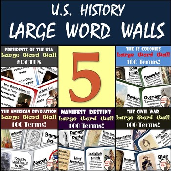 United States History Word Walls - 5 LARGE Word Walls