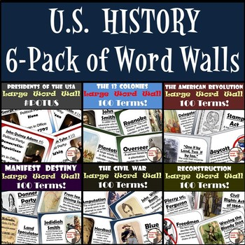 United States History Word Walls: 13 Colonies through Reconstruction