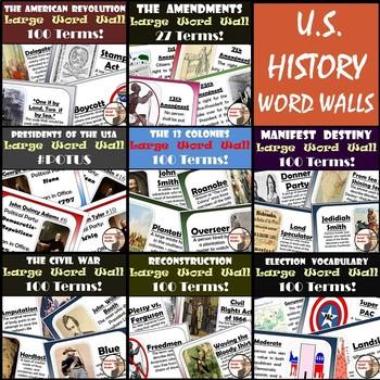 U.S. History Word Walls: 13 Colonies-Reconstruction plus Elections & Amendments
