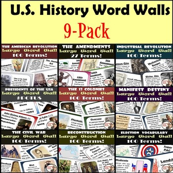 United States History Word Walls: 9-Pack!