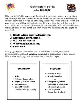United States History Yearlong Book Project
