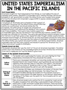 United States Imperialism- Pacific Islands- Reading Comprehension Questions