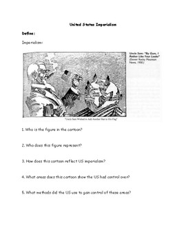United States Imperialism Political Cartoon Worksheet