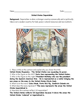 United States Imperialism Political Cartoon Worksheet and Answer Key