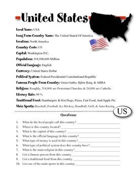 United States Information & Worksheet