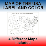 United States Label and Color Map Quiz & Worksheet