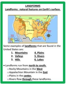 Geography: U.S.Landforms Study Guide - 3rd Grade