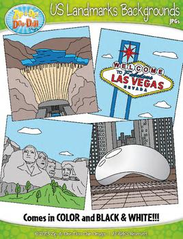 United States Landmarks Background Scenes Clipart {Zip-A-Dee-Doo-Dah Designs}