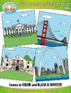 United States Landmarks Background Scenes Clip Art Set — I