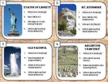 Library Skills: Research Task Cards for Library or Classroom: U.S. Landmarks