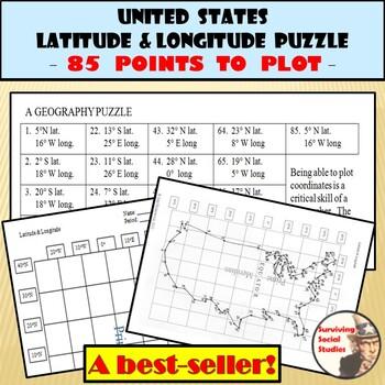 Latitude and Longitude Activity - United States Coordinates Puzzle