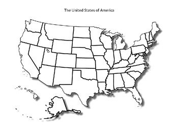 United States Map Black And White United States Map   Blank with States   Black and White by MrFitz