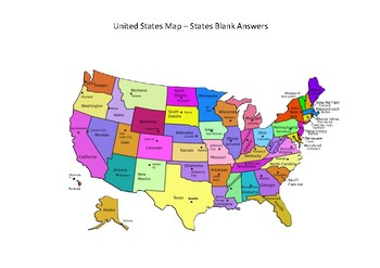 United States Map - Blank with States and Cities - Colored