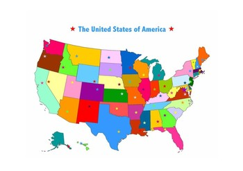 United States Map - Blank with States and Cities - Colored and Black & White