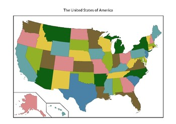 United States Map   Blank with States and Cities   Colored and