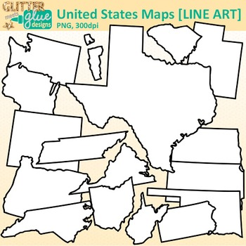 United States Map Clip Art {Social Studies Geography Resources for Teachers} B&W