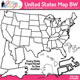 United States Map Clip Art | Social Studies Geography Resources for Teachers B&W