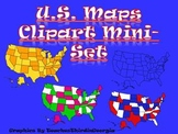 United States Map Clip Art Mini Set- Commercial Use