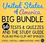 United States Map Clip Art, Tests, Quizzes and Study Guide