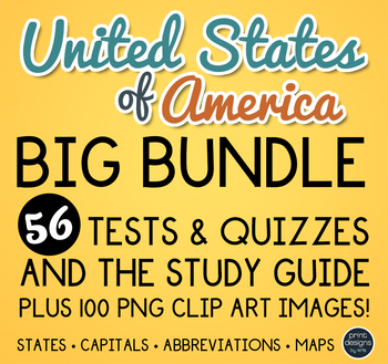 United States Map Study Guide.United States Map Clip Art Tests Quizzes And Study Guide Tpt