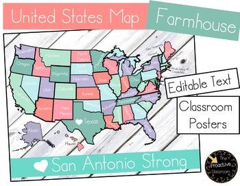 United States Map Decoration - Farmhouse Calm Whitewash Classroom Theme Editable