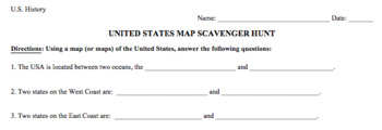 United States Map/Geography Scavenger Hunt