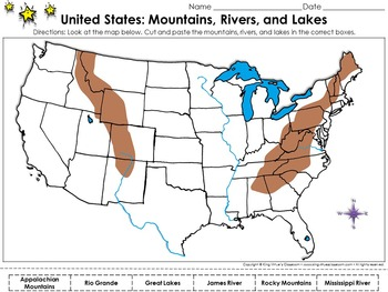United States Map: Mountains, Rivers, and Lakes Cut and Paste Activity