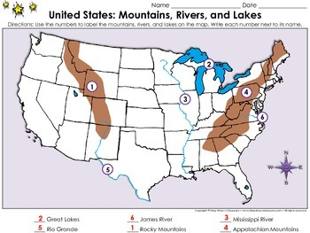 United States Map: Mountains, Rivers, and Lakes - Locate Places on a Map #1