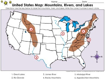 United States Map: Mountains, Rivers, and Lakes - Locate Places on a Map #2