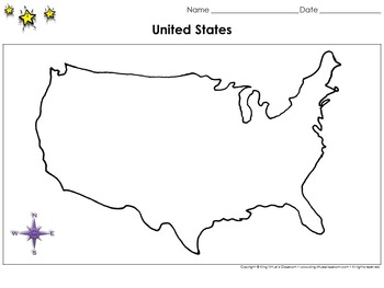 United States Map - No Hawaii or Alaska - Blank - Full Page - King Virtue