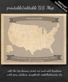 United States Map Printable - Printable Editable Map Instant Download Geography