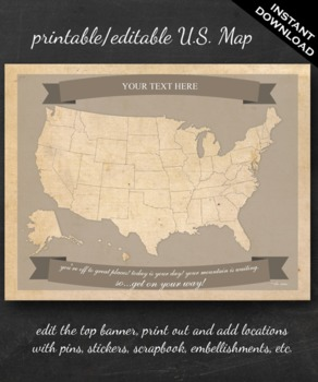 United States Map Printable - Printable Editable Map Instant ...