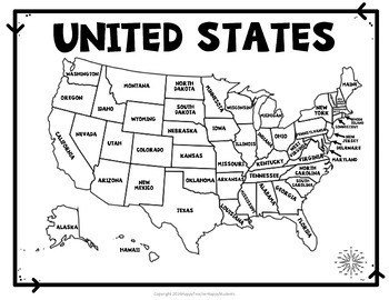 United States Map Quiz Worksheet USA Map Practice TpT - Us map quiz with s