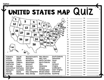 United States Map Quiz & Worksheet: USA Map Test with Practice Worksheet