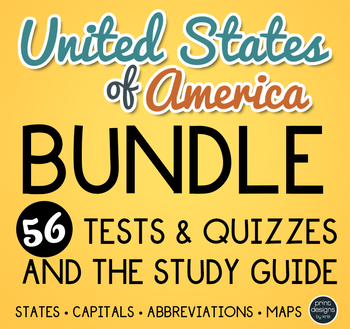 United States Map Tests, Quizzes and Study Guide