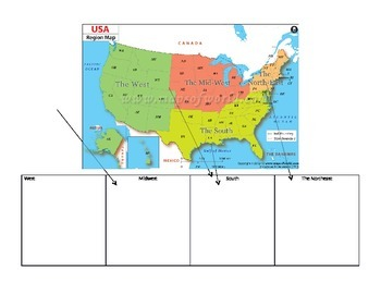 United States Map with Graphic Organizer for Notes