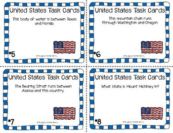 United States Geography Task Cards