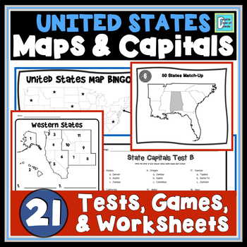 United States Maps and Capitals Activities Bundle GAMES | WORKSHEETS | TESTS