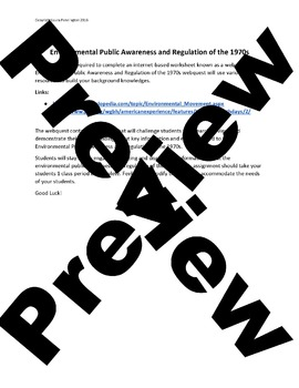 United States Middle School: Environmental Public Awareness (Webquest)